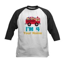Personalized 4th Birthday Firetruck Baseball Jerse