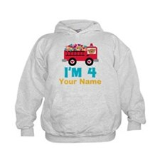 Personalized 4th Birthday Firetruck Hoodie