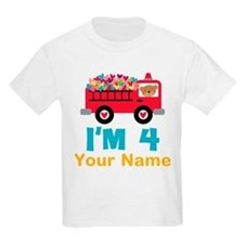 Personalized 4th Birthday Firetruck T-Shirt