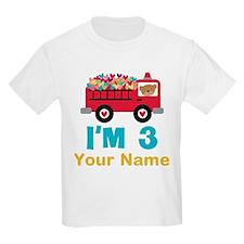 Personalized 3rd Birthday Firetruck T-Shirt