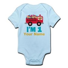 Personalized 1st Birthday Firetruck Body Suit