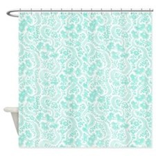 Light Teal Vintage Floral Shower Curtain