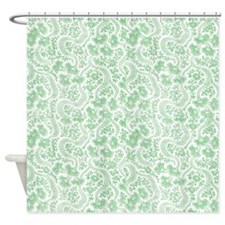 Green Vintage Floral Shower Curtain
