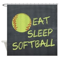 eat, sleep, softball Shower Curtain