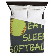 eat, sleep, softball Queen Duvet