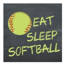 "eat, sleep, softball Square Car Magnet 3"" x 3"""