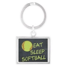 eat, sleep, softball Landscape Keychain