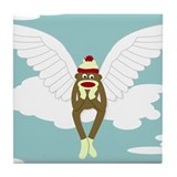 Sock Monkey Guardian Angel Wings Tile Coaster
