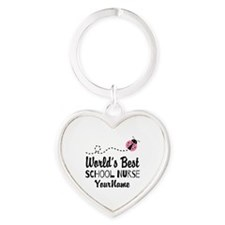 World's Best School Nurse Heart Keychain