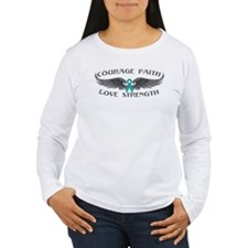 Ovarian Cancer Courage Wings T-Shirt
