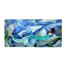 Dolphins And Mermaid Party Beach Towel