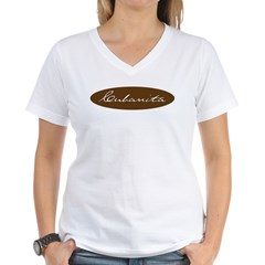 Cubanita Oval Brown Women's V-Neck T-Shirt