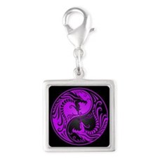 Purple Yin Yang Dragons with Black Back Charms