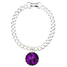 Purple Yin Yang Dragons with Black Back Bracelet