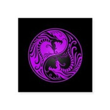 Purple Yin Yang Dragons with Black Back Sticker