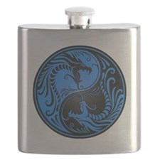 Blue And Black Yin Yang Dragons Flask