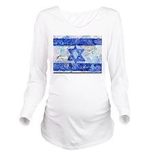 Flag of Israel Long Sleeve Maternity T-Shirt