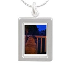 Christmas Pug Dreams Silver Portrait Necklace