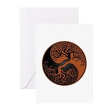 Brown And Black Yin Yang Tree Greeting Cards