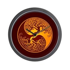 Yellow and Red Yin Yang Tree Wall Clock