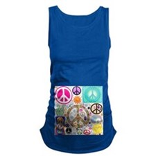 Peace Paisley Collage Maternity Tank Top