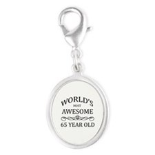 World's Most Awesome 65 Year Old Silver Oval Charm