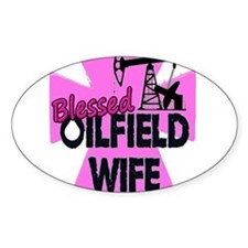 Pink Blessed Oilfield Wife With Cross Decal