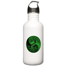 Green and Black Yin Yang Tree Water Bottle