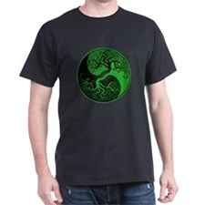 Green and Black Yin Yang Tree T-Shirt