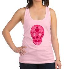 Pink Hearts Sugar Skull Racerback Tank Top