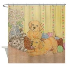 Kitty and Puppy Shower Curtain Shower Curtain