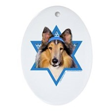 Hanukkah Star of David - Collie Ornament (Oval)