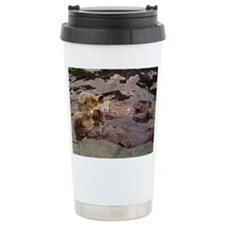 Sea Otters Holding Hands Travel Mug
