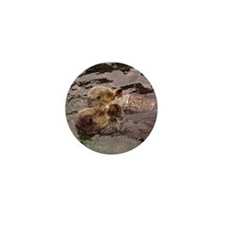 Sea Otters Holding Hands Mini Button