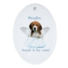 Beagle Angel Oval Ornament