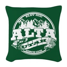 Alta Old Circle Green Woven Throw Pillow