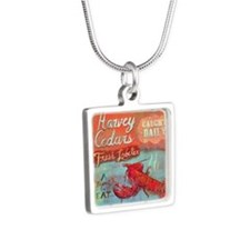 Beach Sign Silver Square Necklace