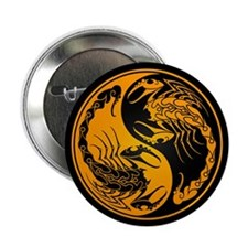 "Yellow Yin Yang Scorpions on Black 2.25"" Button (1"