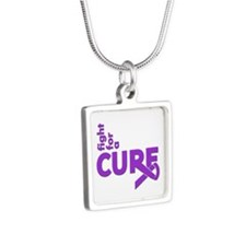 Epilepsy Fight For A Cure Silver Square Necklace