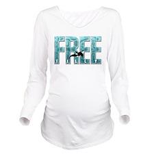 Free Tilly Sea Blue Long Sleeve Maternity T-Shirt