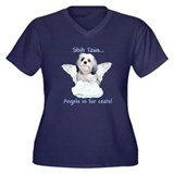 Shih Tzu Angel Women's Plus Size V-Neck Dark T-Shi