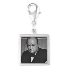 winston churchill Silver Square Charm