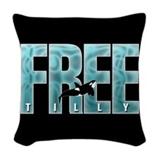 Free Tilly Sea Blue Woven Throw Pillow