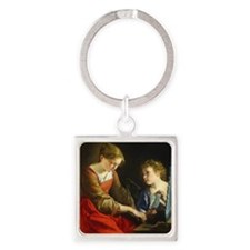 Saint Cecilia and an Angel Square Keychain