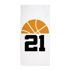 Basketball Number 21 Player Gift Beach Towel