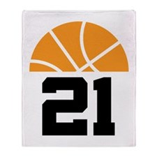 Basketball Number 21 Player Gift Throw Blanket