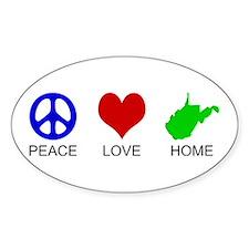 Peace Love Home Oval Bumper Stickers