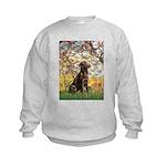 Spring - Chocolate Lab 11.png Kids Sweatshirt
