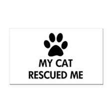 My Cat Rescued Me Rectangle Car Magnet