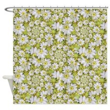 White Daisy Spiral Pattern Shower Curtain
